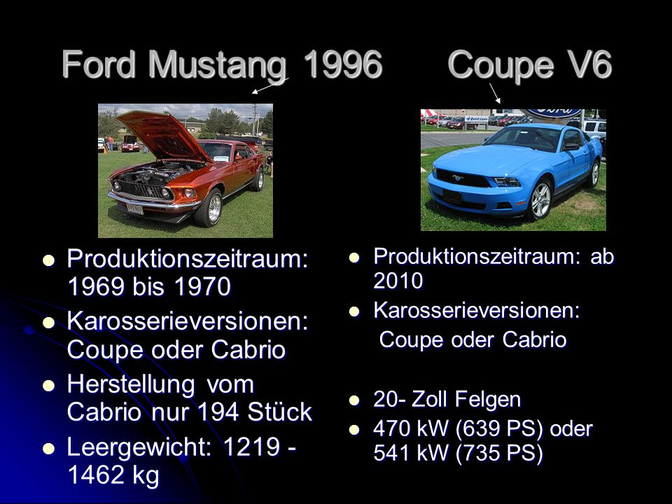 Ford Mustang 1996 Coupe V6 Produktionszeitraum: 1969 bis 1970
