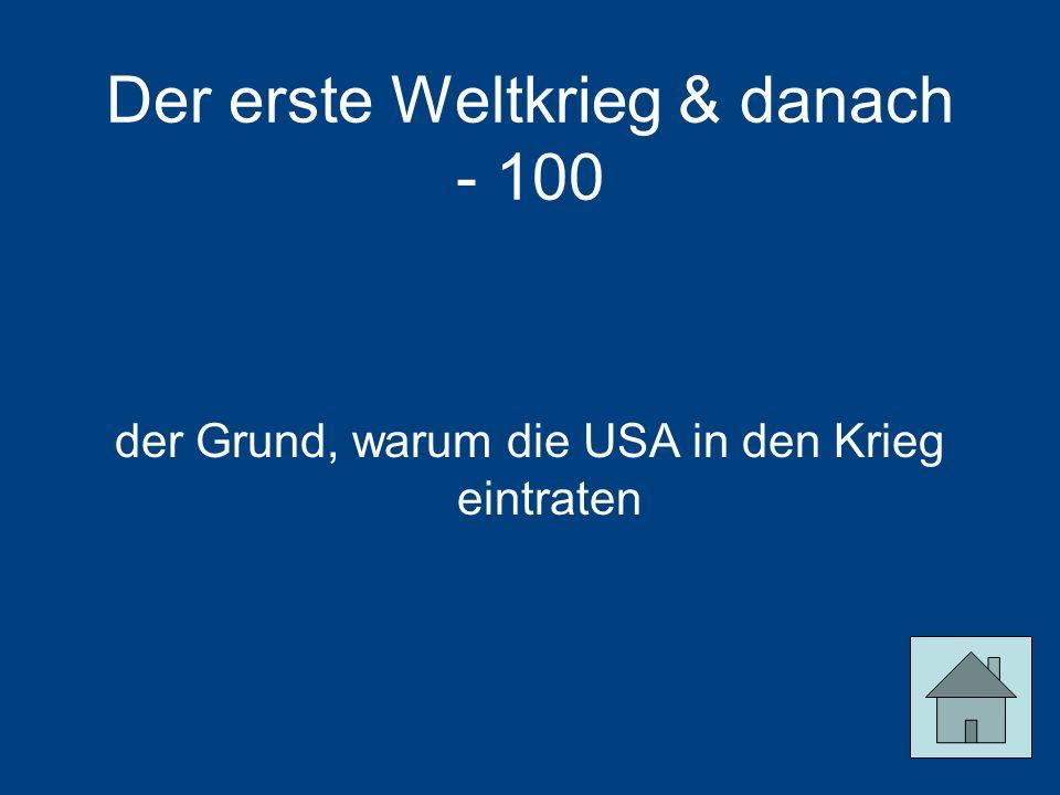 Der erste Weltkrieg & danach - 100