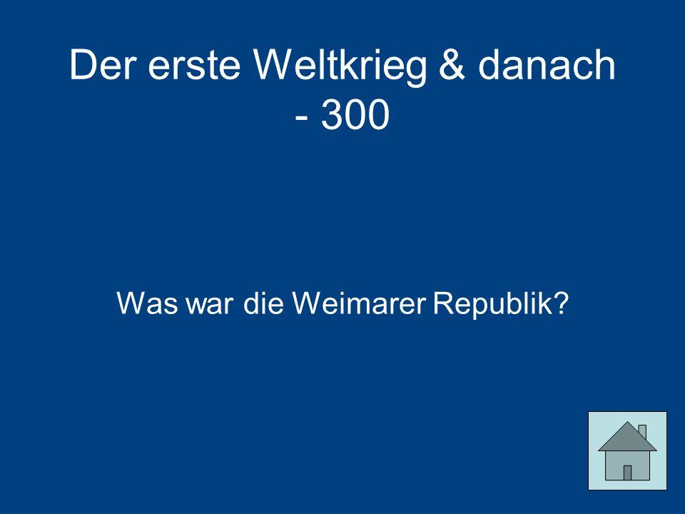 Der erste Weltkrieg & danach - 300