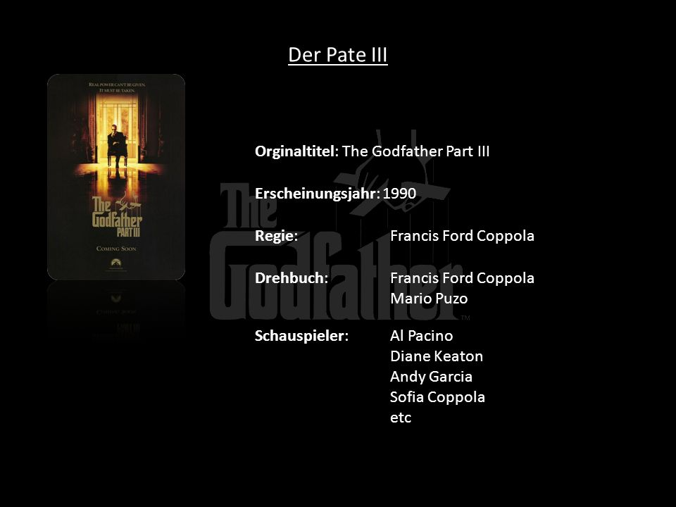 Der Pate III Orginaltitel: The Godfather Part III