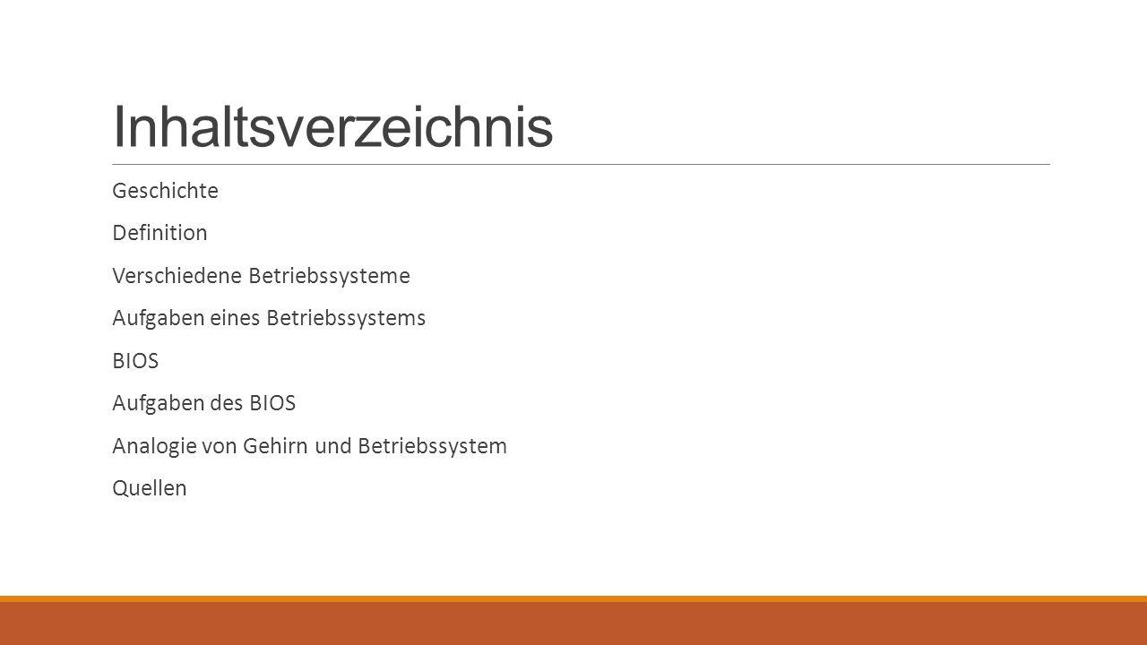Inhaltsverzeichnis Geschichte Definition Verschiedene Betriebssysteme