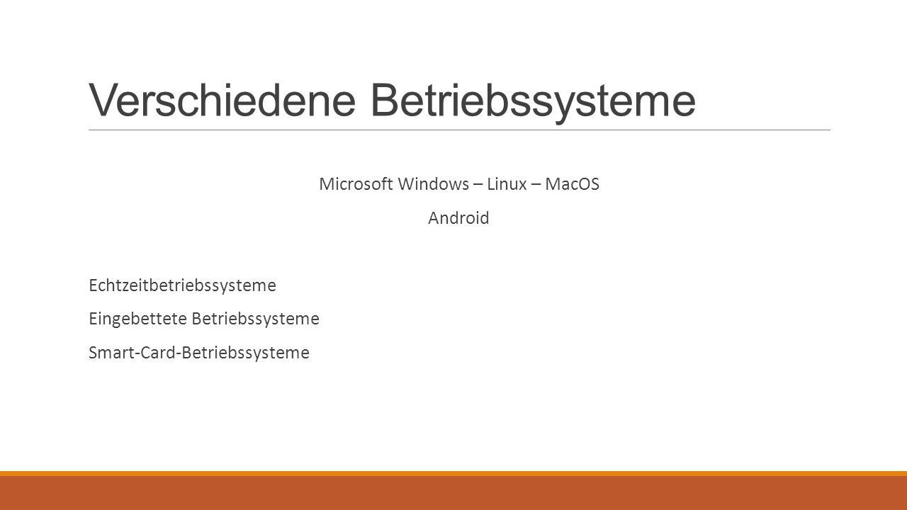 Verschiedene Betriebssysteme