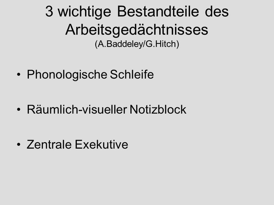 3 wichtige Bestandteile des Arbeitsgedächtnisses (A.Baddeley/G.Hitch)