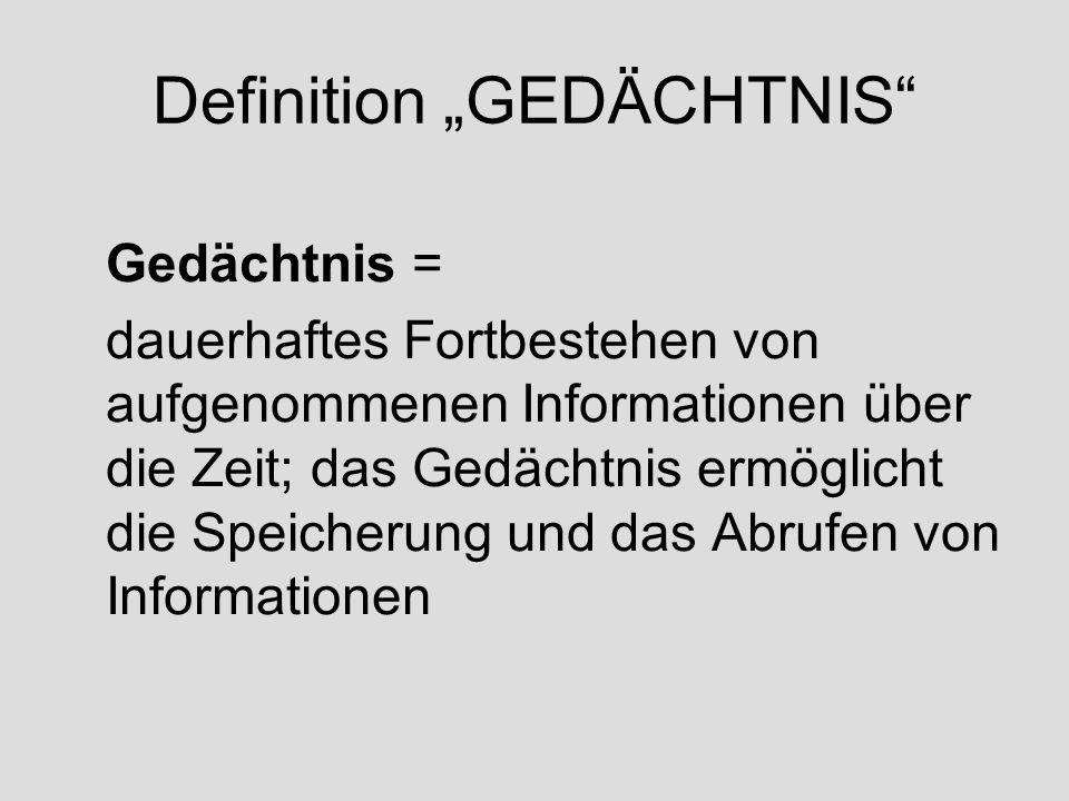 """Definition """"GEDÄCHTNIS"""