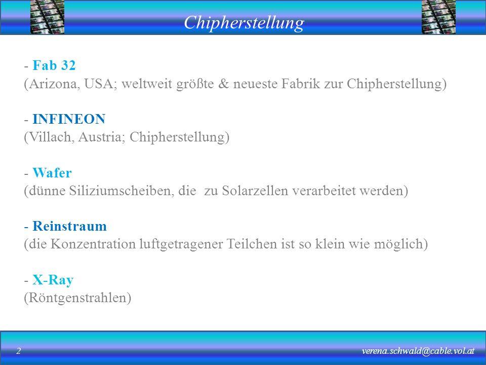 Fab 32 (Arizona, USA; weltweit größte & neueste Fabrik zur Chipherstellung) INFINEON. (Villach, Austria; Chipherstellung)