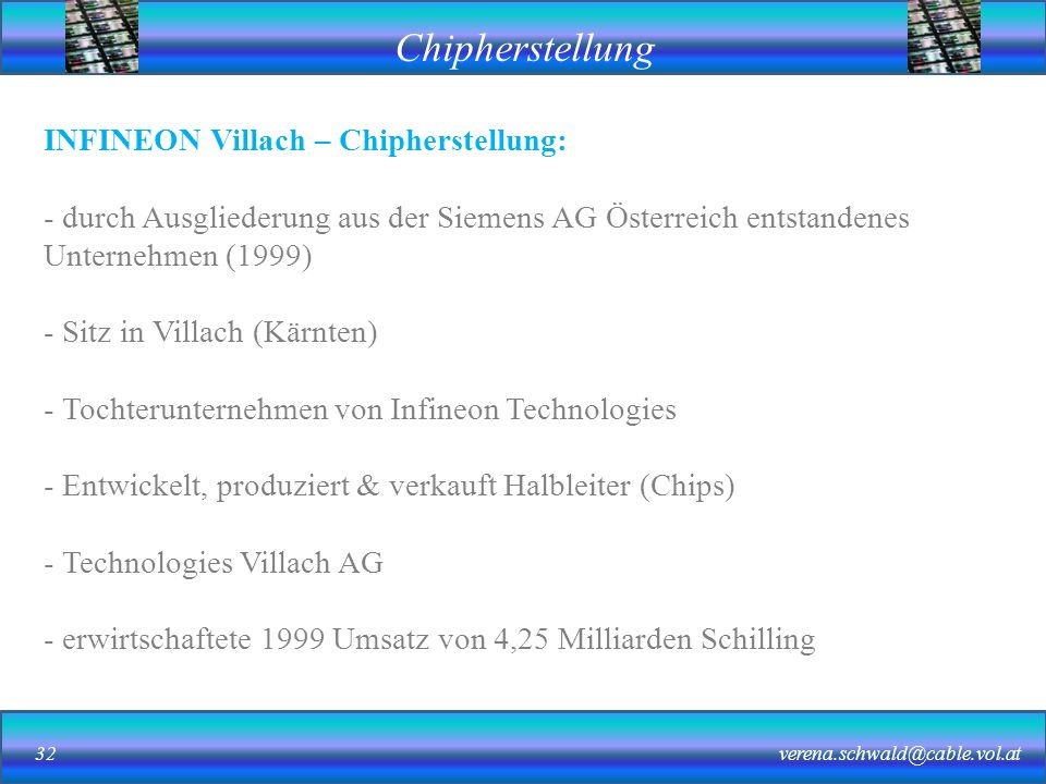 INFINEON Villach – Chipherstellung: