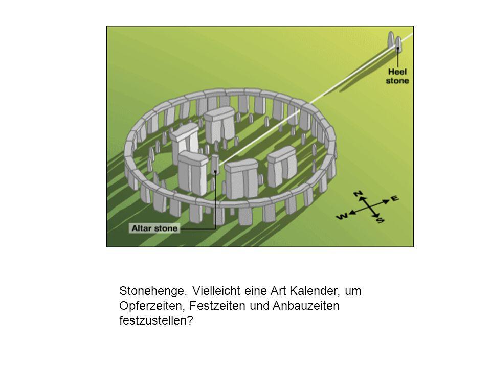 Stonehenge. Vielleicht eine Art Kalender, um Opferzeiten, Festzeiten und Anbauzeiten festzustellen