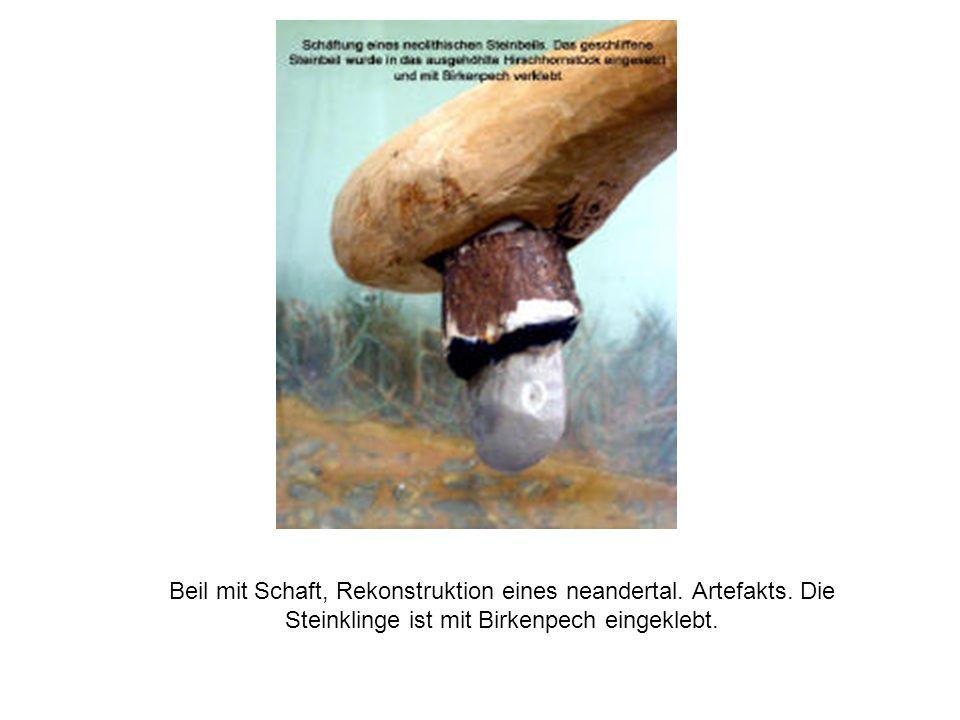 Beil mit Schaft, Rekonstruktion eines neandertal. Artefakts