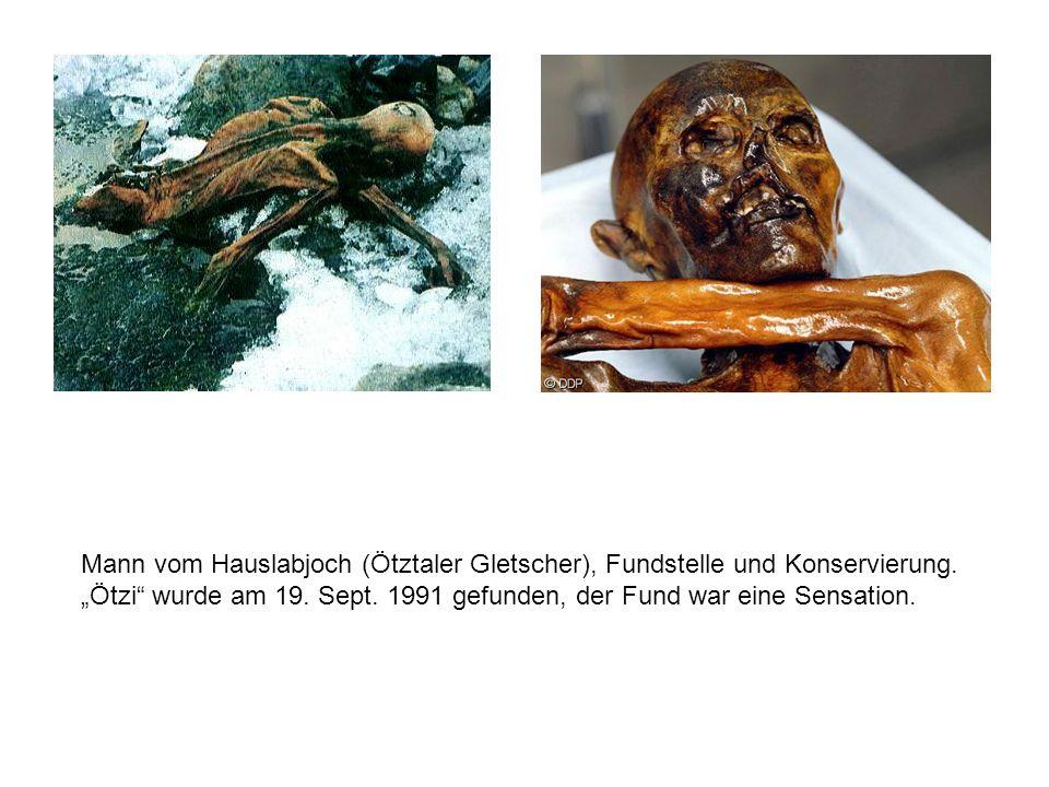 Mann vom Hauslabjoch (Ötztaler Gletscher), Fundstelle und Konservierung.