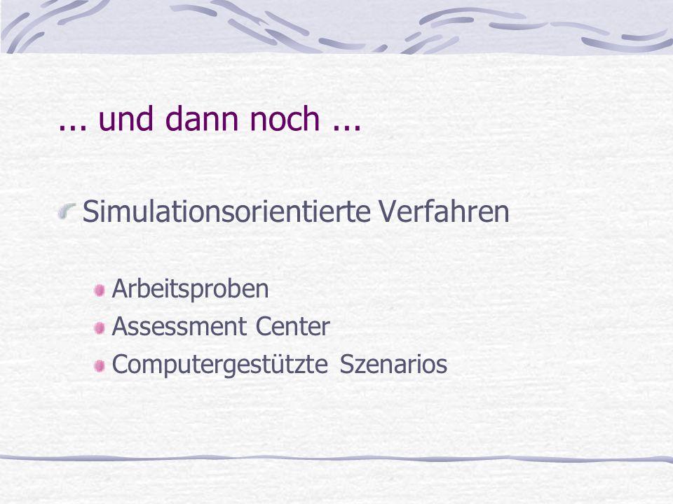 ... und dann noch ... Simulationsorientierte Verfahren Arbeitsproben