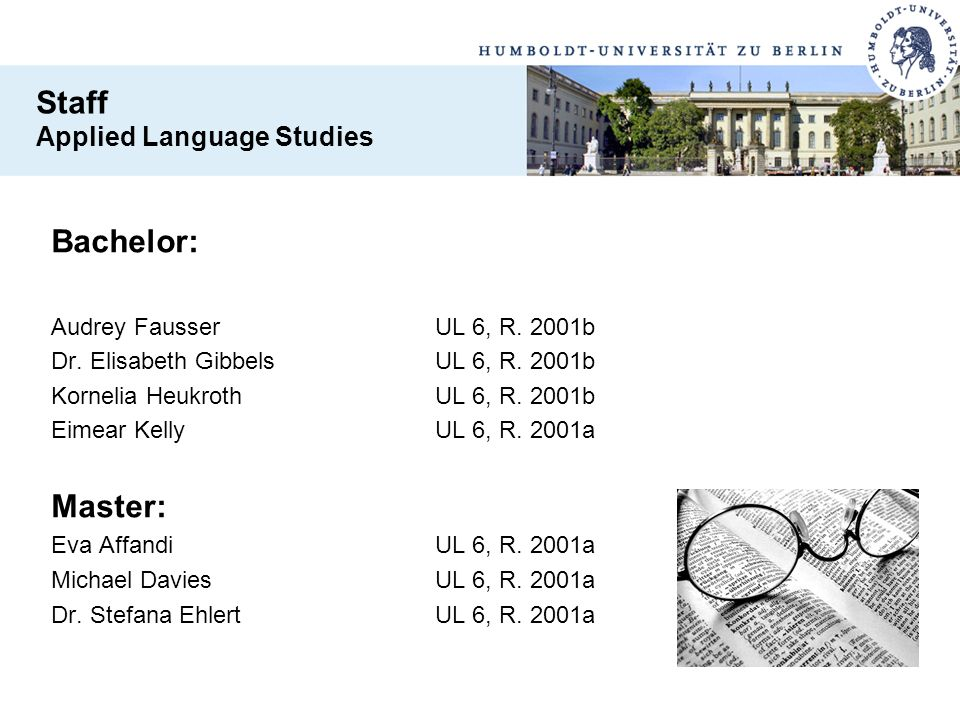 Staff Bachelor: Master: Applied Language Studies