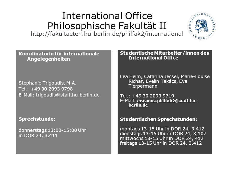 International Office Philosophische Fakultät II http://fakultaeten