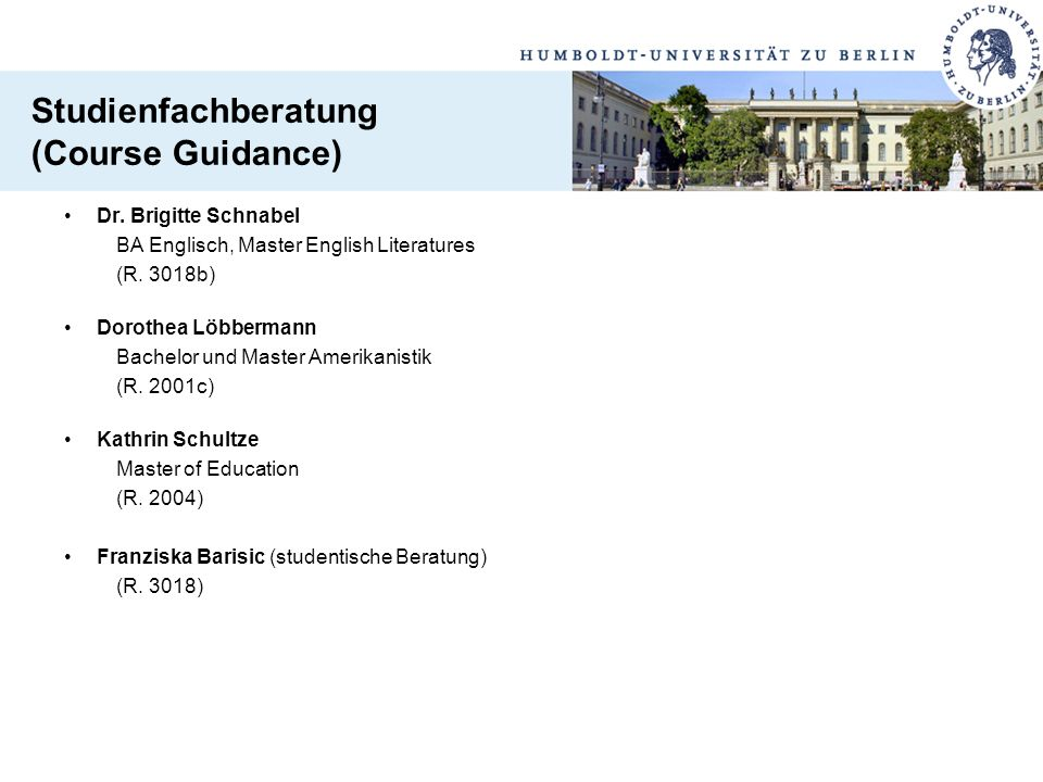 Studienfachberatung (Course Guidance)