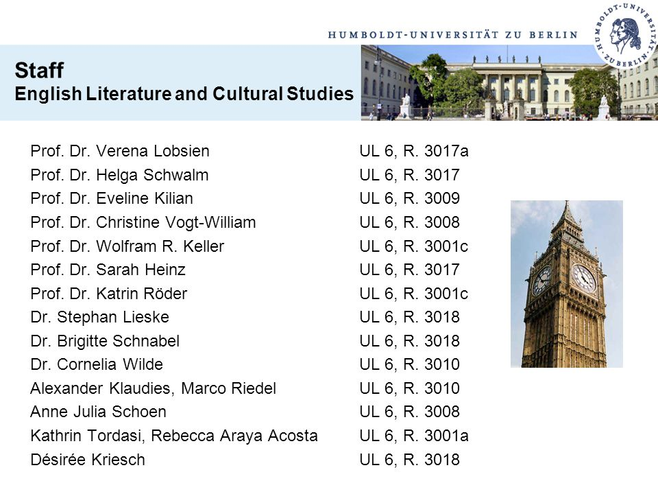 Staff English Literature and Cultural Studies