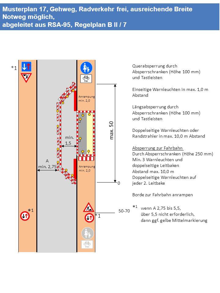 Musterplan 17, Gehweg, Radverkehr frei, ausreichende Breite Notweg möglich, abgeleitet aus RSA-95, Regelplan B II / 7