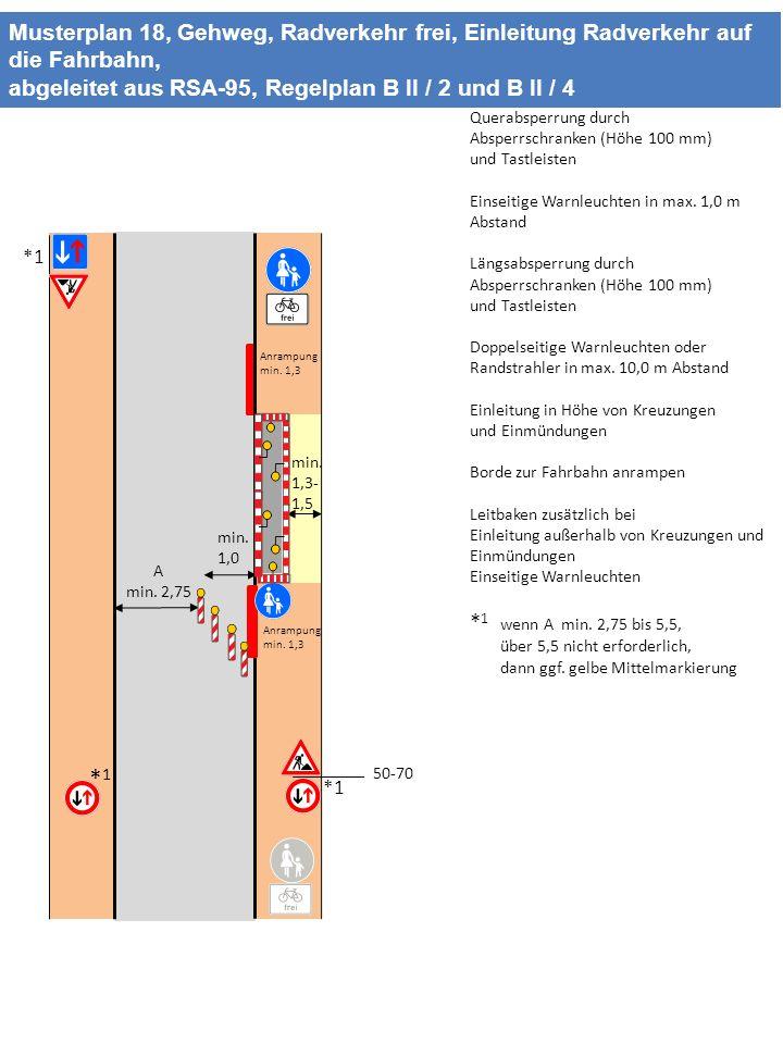 Musterplan 18, Gehweg, Radverkehr frei, Einleitung Radverkehr auf die Fahrbahn,