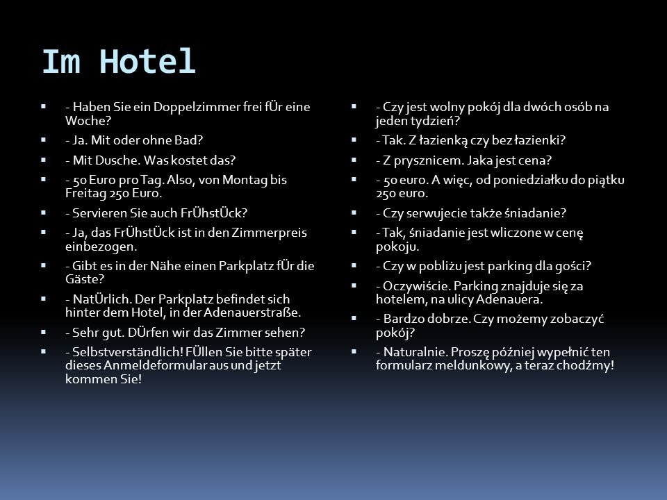 Im Hotel - Haben Sie ein Doppelzimmer frei fÜr eine Woche