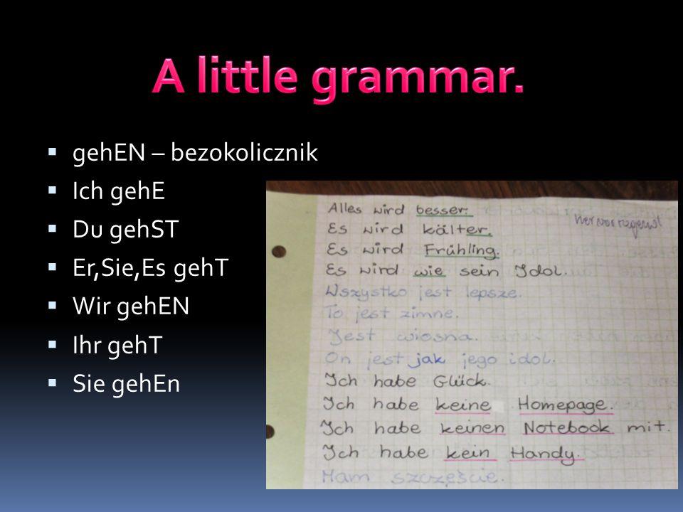 A little grammar. gehEN – bezokolicznik Ich gehE Du gehST