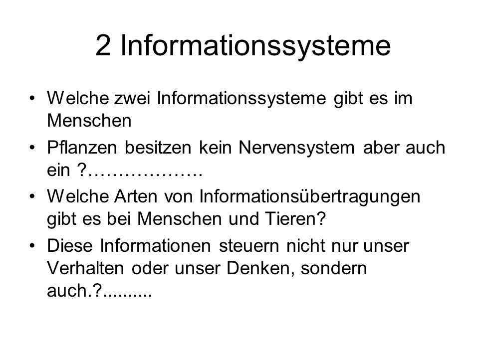 2 Informationssysteme Welche zwei Informationssysteme gibt es im Menschen. Pflanzen besitzen kein Nervensystem aber auch ein ……………….