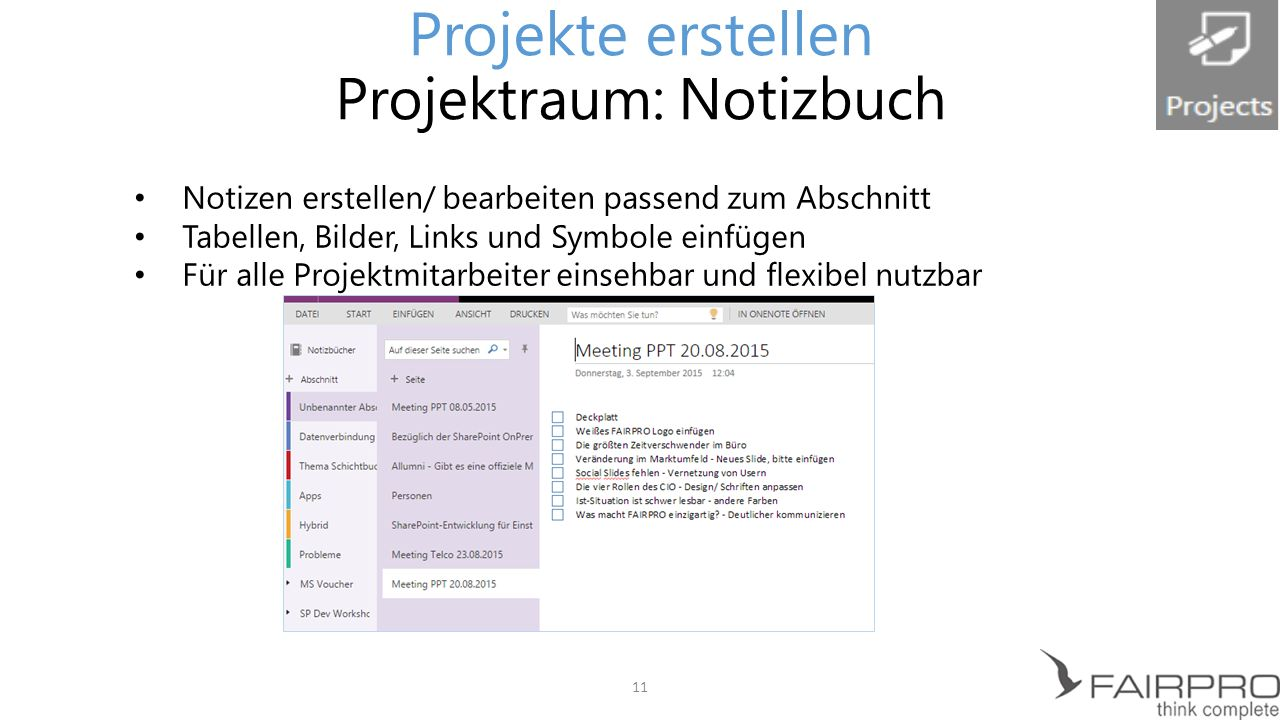Projekte erstellen Projektraum: Notizbuch
