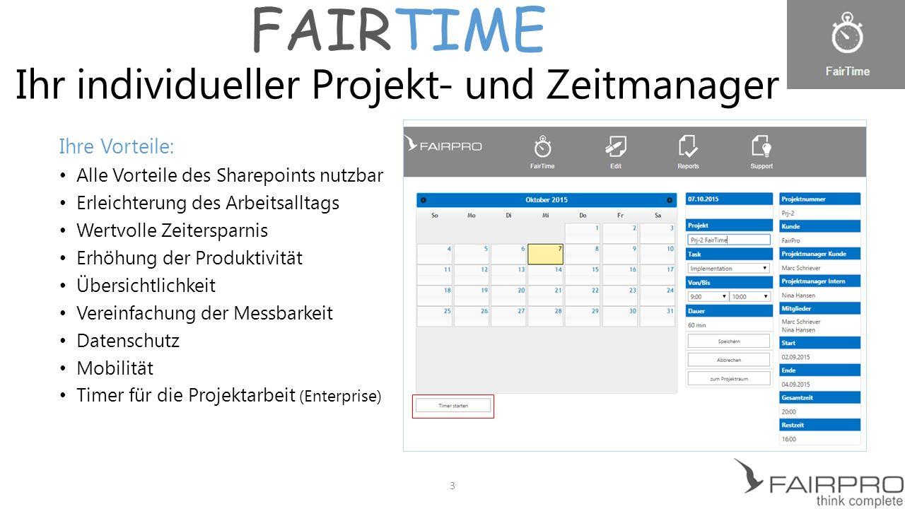 FAIRTIME Ihr individueller Projekt- und Zeitmanager