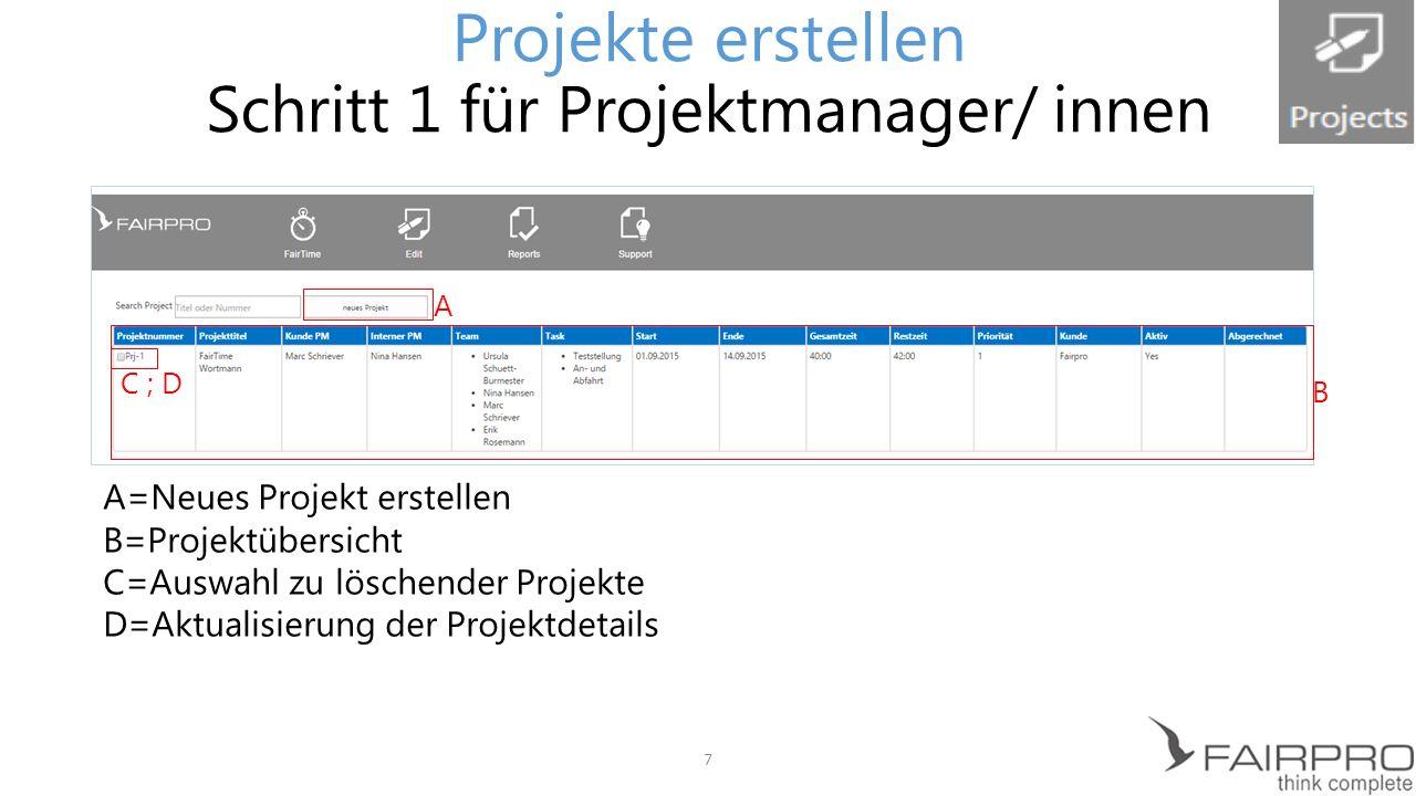 Projekte erstellen Schritt 1 für Projektmanager/ innen