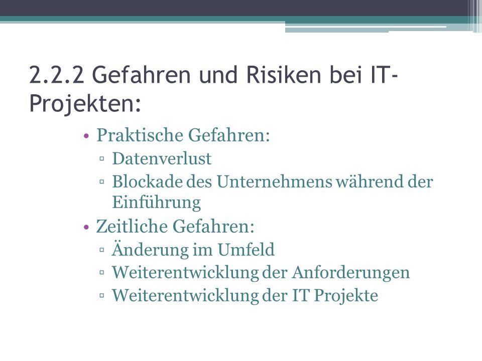 2.2.2 Gefahren und Risiken bei IT- Projekten: