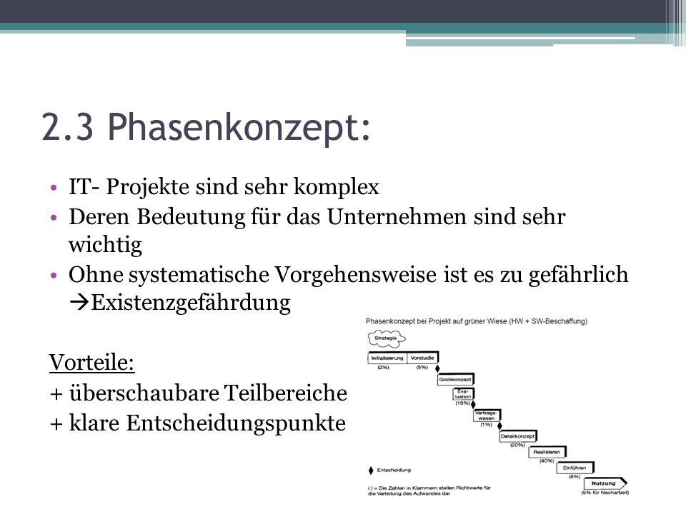 2.3 Phasenkonzept: IT- Projekte sind sehr komplex