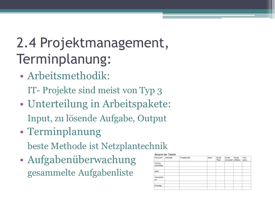 2.4 Projektmanagement, Terminplanung: