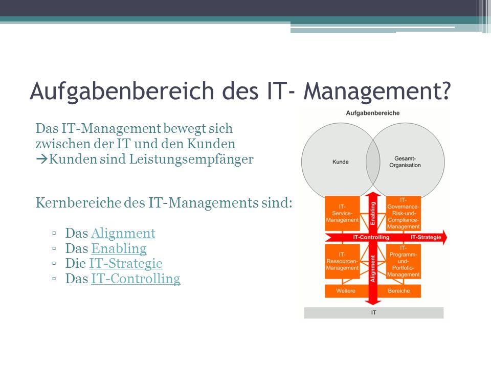 Aufgabenbereich des IT- Management