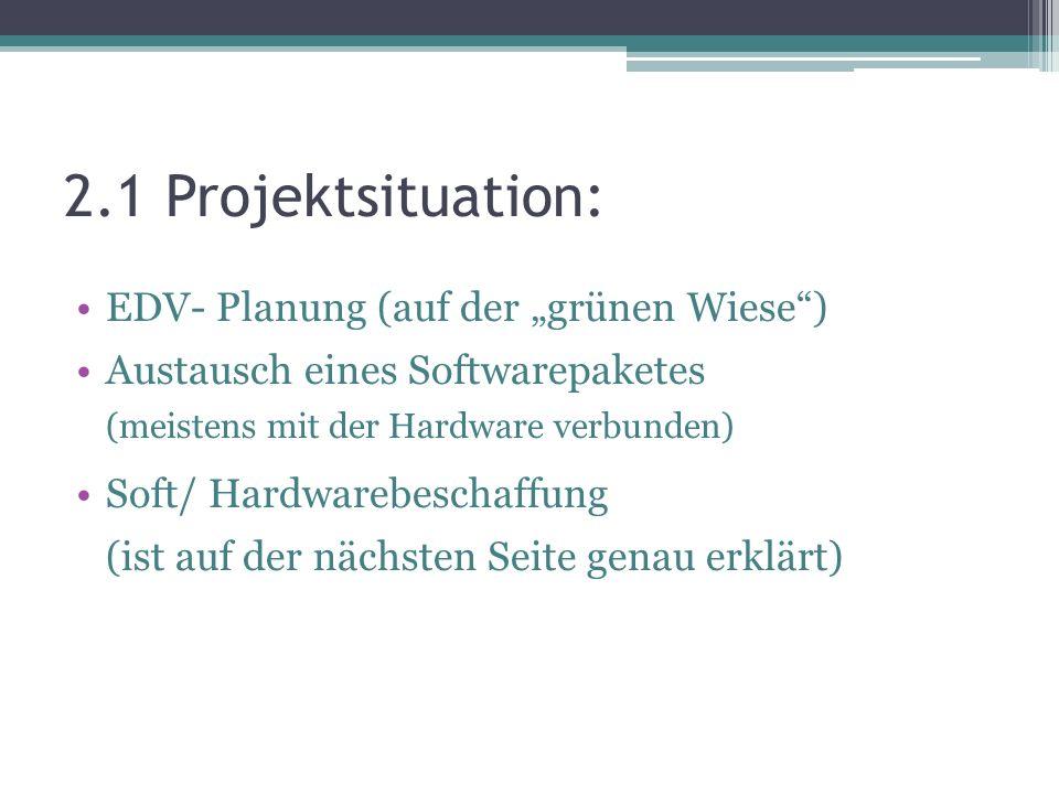 "2.1 Projektsituation: EDV- Planung (auf der ""grünen Wiese )"