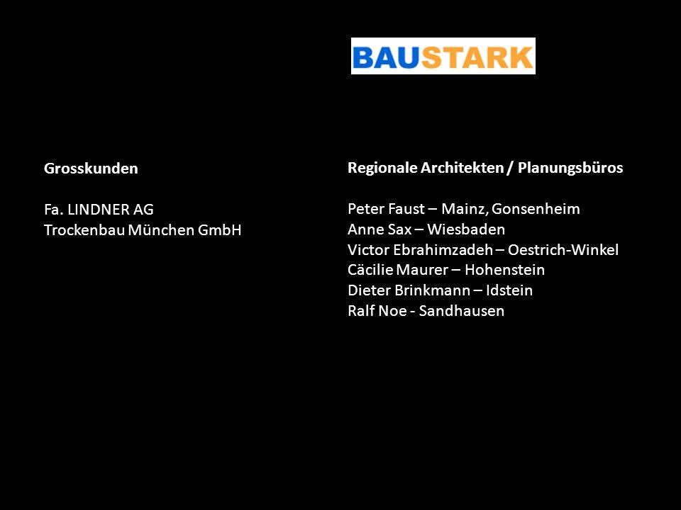 Grosskunden Fa. LINDNER AG. Trockenbau München GmbH. Regionale Architekten / Planungsbüros. Peter Faust – Mainz, Gonsenheim.