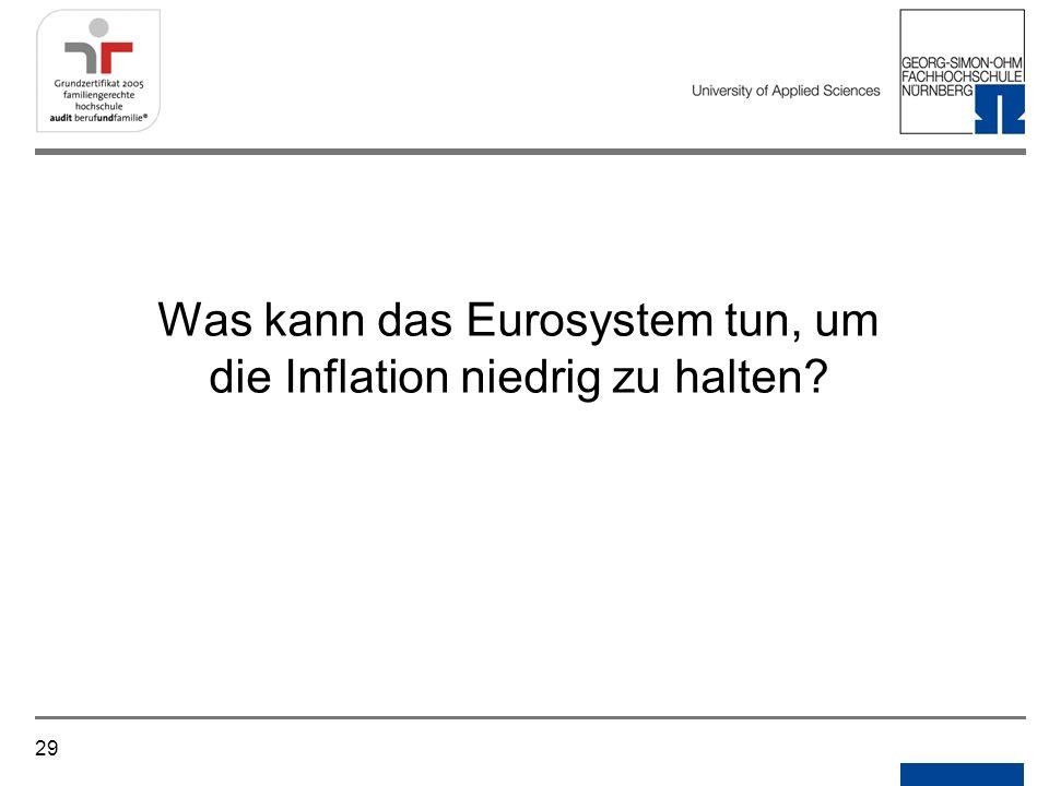 Was kann das Eurosystem tun, um die Inflation niedrig zu halten