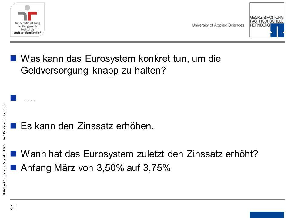 Was kann das Eurosystem konkret tun, um die Geldversorgung knapp zu halten