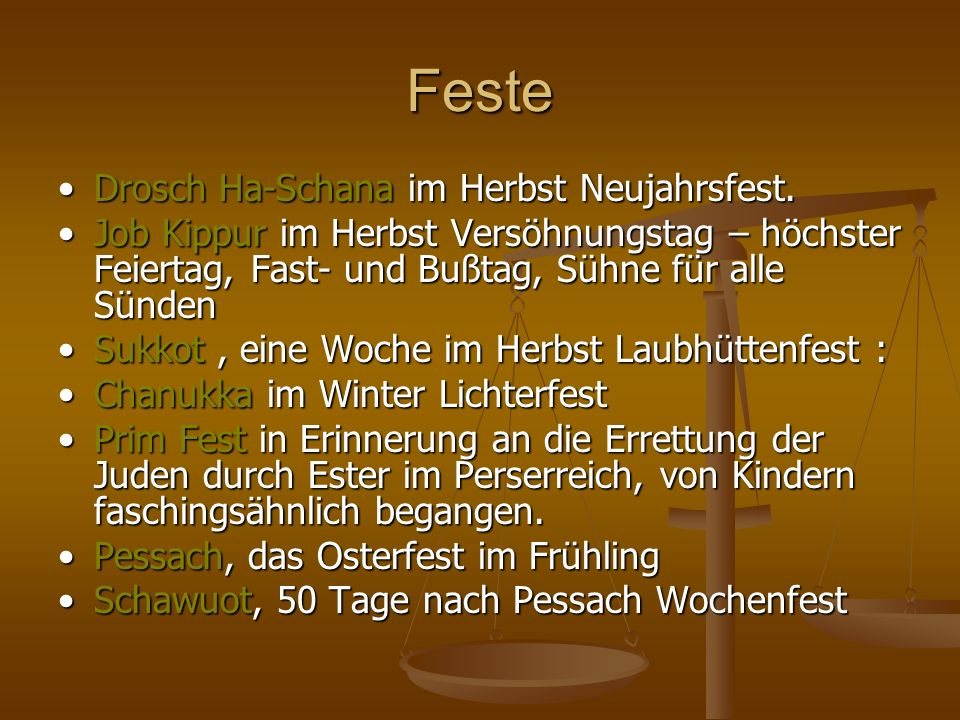 Feste • Drosch Ha-Schana im Herbst Neujahrsfest.