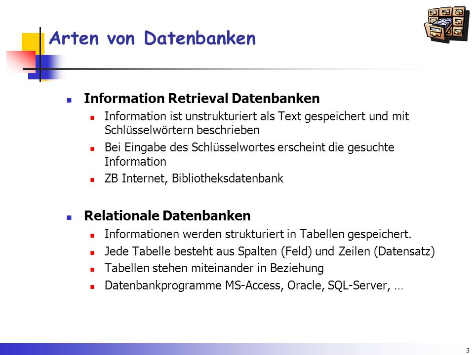 Arten von Datenbanken Information Retrieval Datenbanken