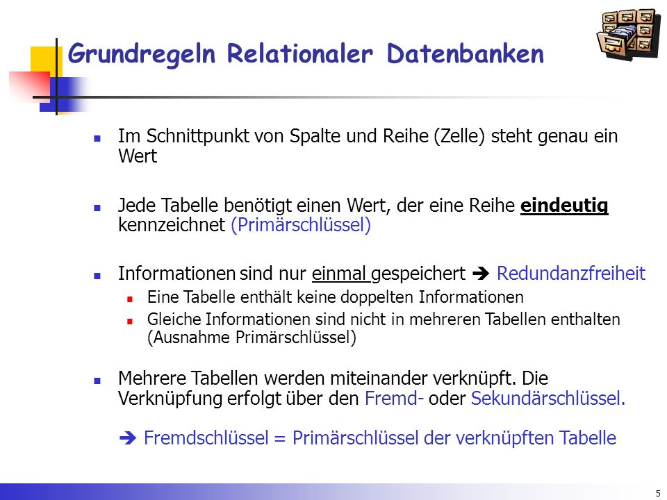 Grundregeln Relationaler Datenbanken