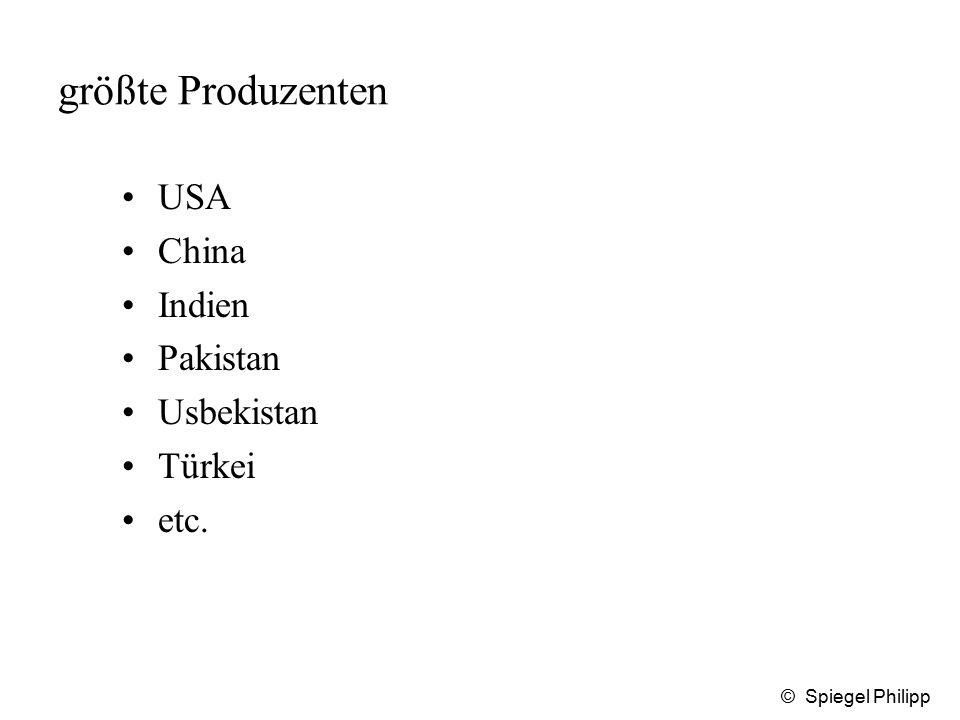 größte Produzenten USA China Indien Pakistan Usbekistan Türkei etc.