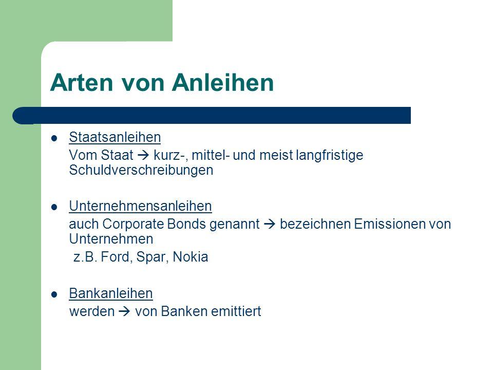 Arten von Anleihen Staatsanleihen