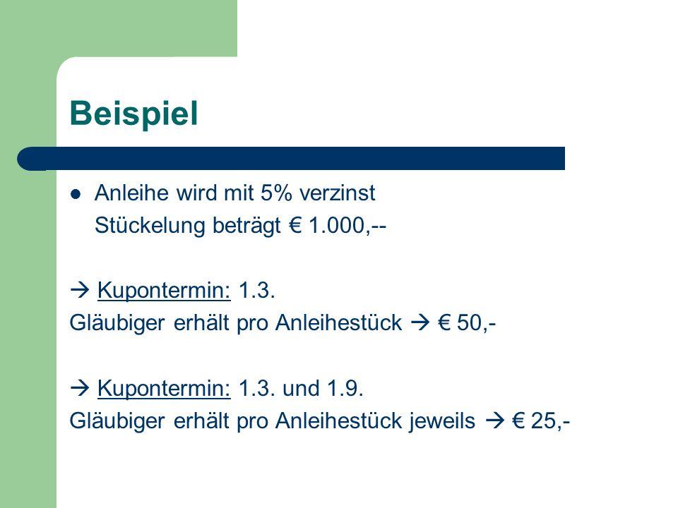 Beispiel Anleihe wird mit 5% verzinst Stückelung beträgt € 1.000,--