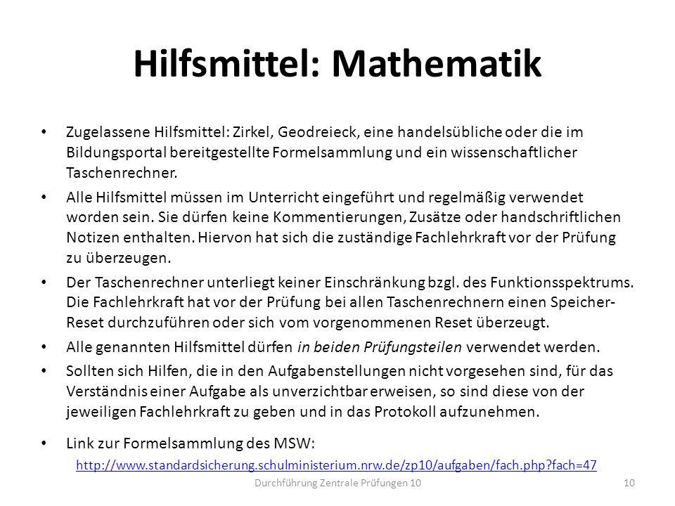 Hilfsmittel: Mathematik