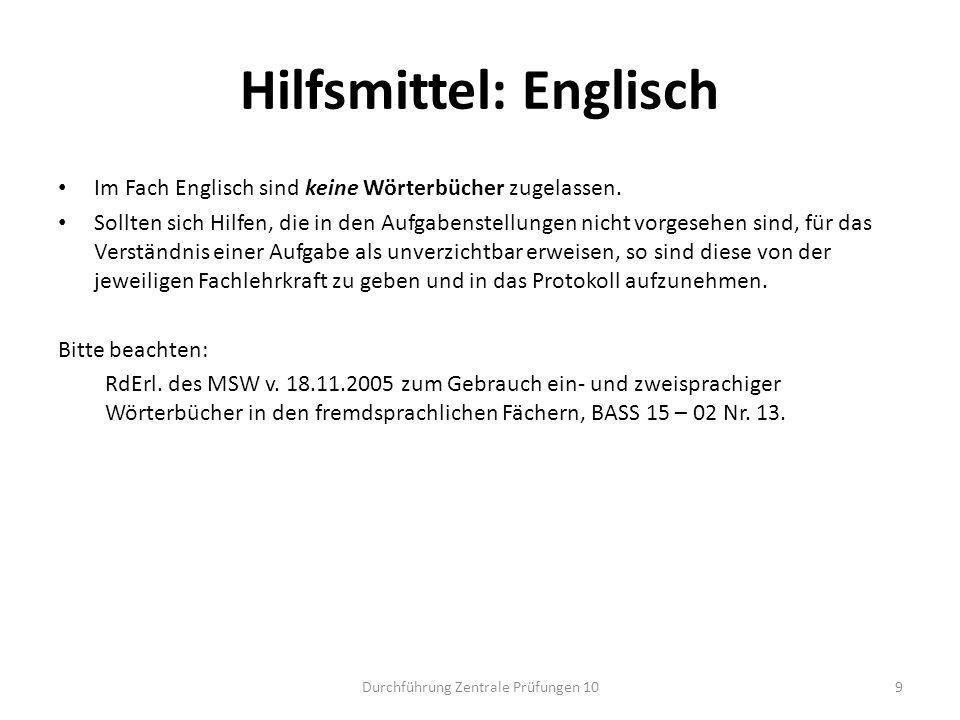 Hilfsmittel: Englisch
