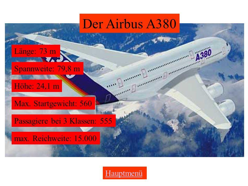 Der Airbus A380 Länge: 73 m Spannweite: 79,8 m Höhe: 24,1 m
