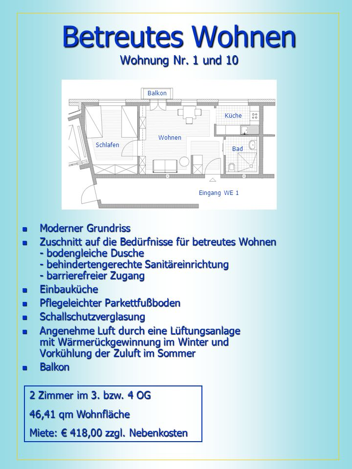 Betreutes Wohnen Wohnung Nr. 1 und 10