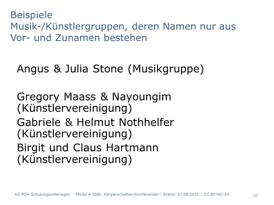 Beispiele Musik-/Künstlergruppen, deren Namen nur aus Vor- und Zunamen bestehen