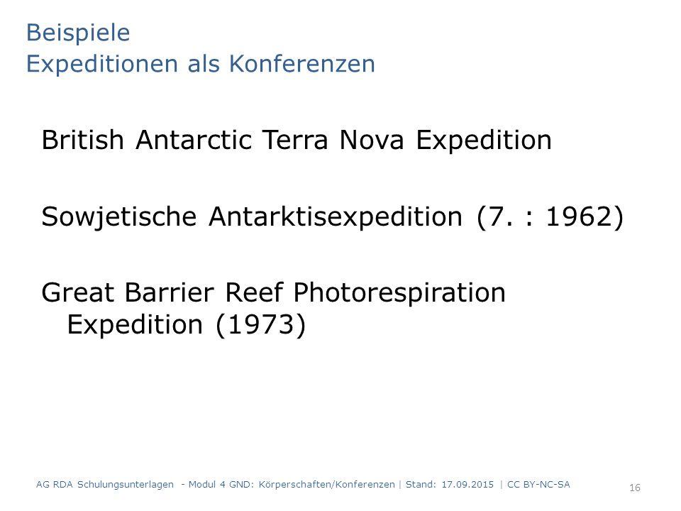 Beispiele Expeditionen als Konferenzen