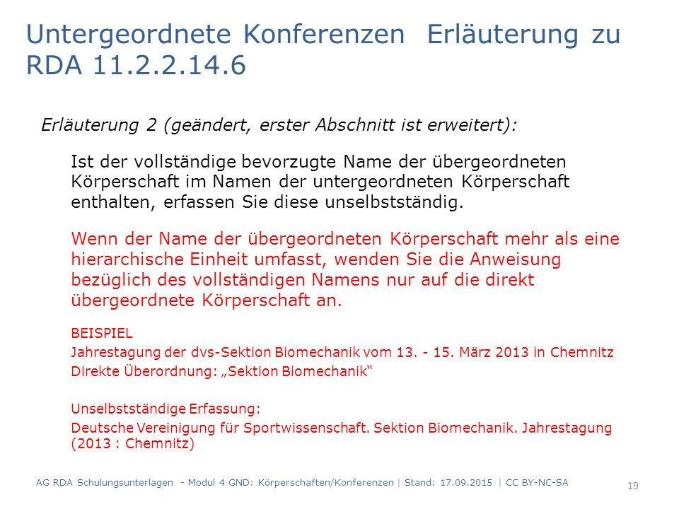 Untergeordnete Konferenzen Erläuterung zu RDA 11.2.2.14.6