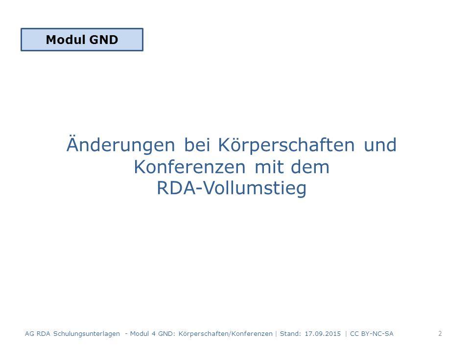 Änderungen bei Körperschaften und Konferenzen mit dem RDA-Vollumstieg