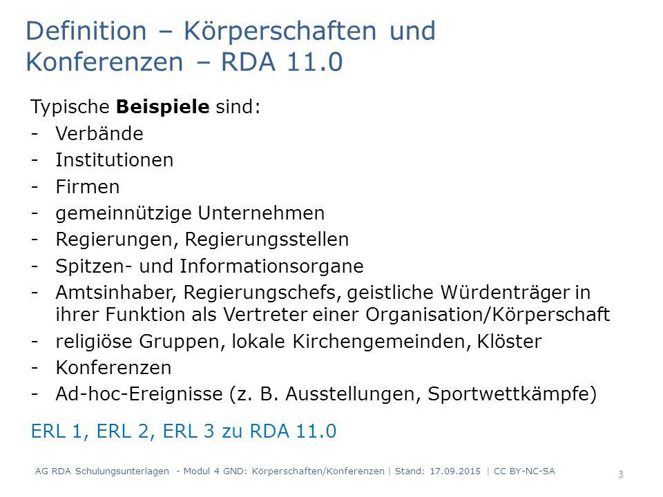 Definition – Körperschaften und Konferenzen – RDA 11.0