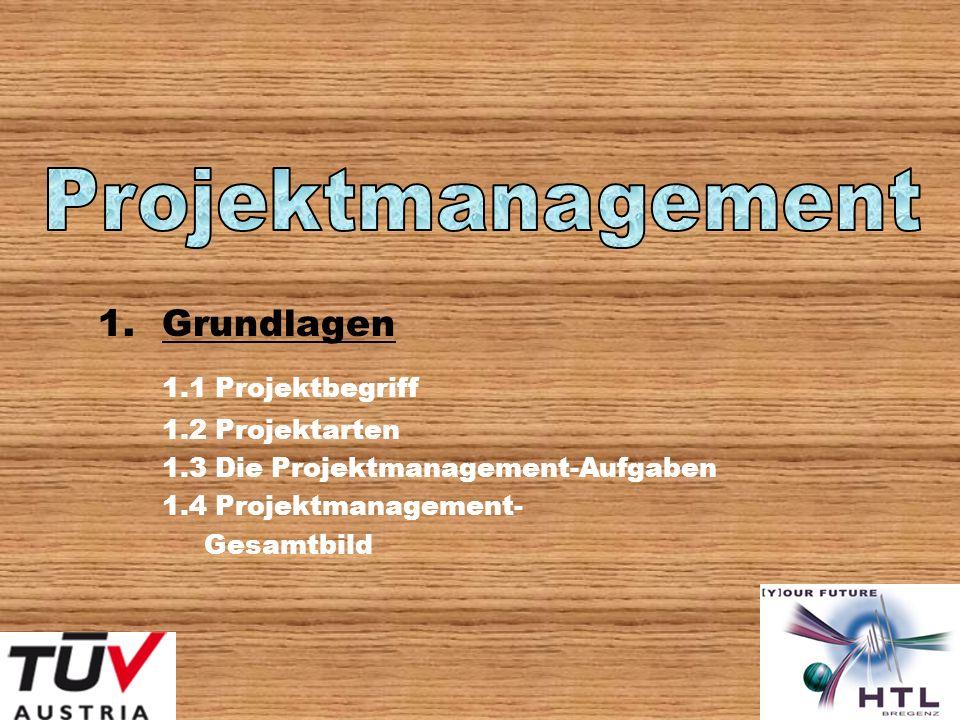 Projektmanagement 1.1 Projektbegriff Grundlagen 1.2 Projektarten